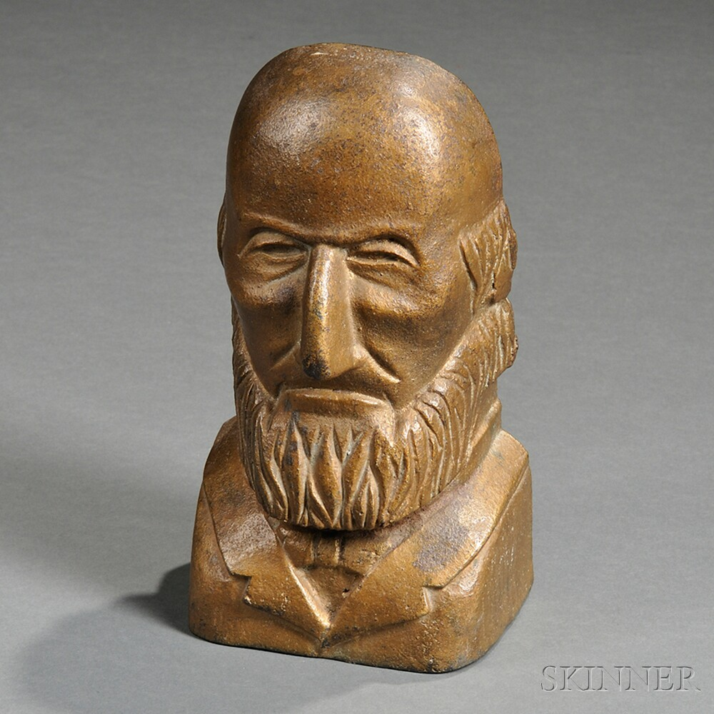 Gold-painted Cast Iron Bust of a Bald Bearded Man