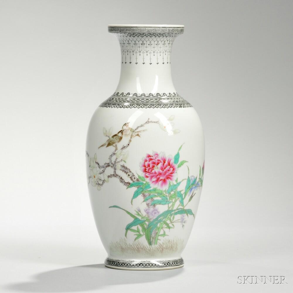 Famille Rose White Porcelain Vase