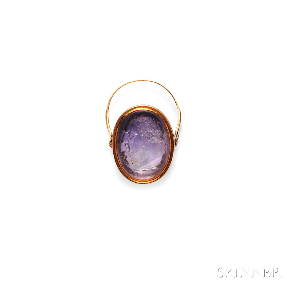 Antique Gold and Amethyst Intaglio Swivel Ring