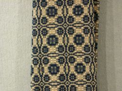Blue and White Jacquard Woven Coverlet.