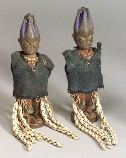 African Carved Wood Twin Female Ibeji Dolls
