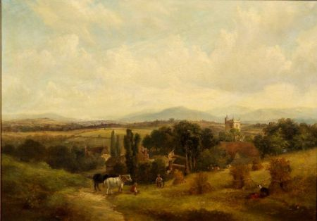 Attributed to George Barrell Willcock (British, 1811-1852)    Lapford, South Devon-Cutting Wheat