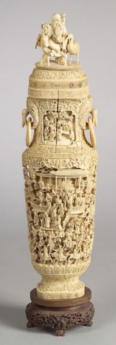 Large Ivory Vase and Cover
