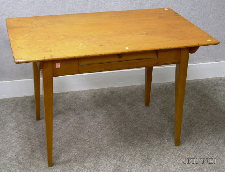 Country Federal Pine and Maple One-Drawer Kitchen Table.