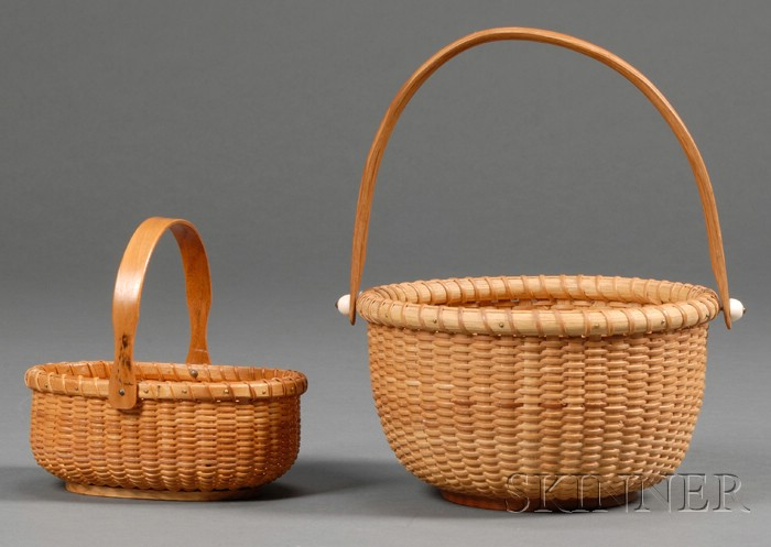 Two Small Woven Cane Nantucket Baskets
