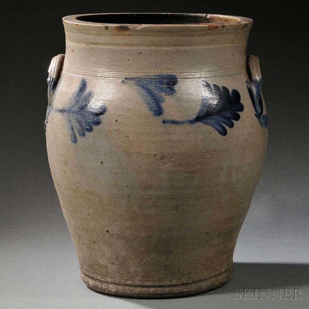 Salt-glazed Cobalt-decorated Four-gallon Stoneware Jar