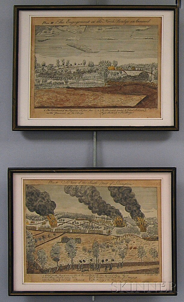 Two Framed A. Doolittle Hand-colored Engravings of Lexington and Concord