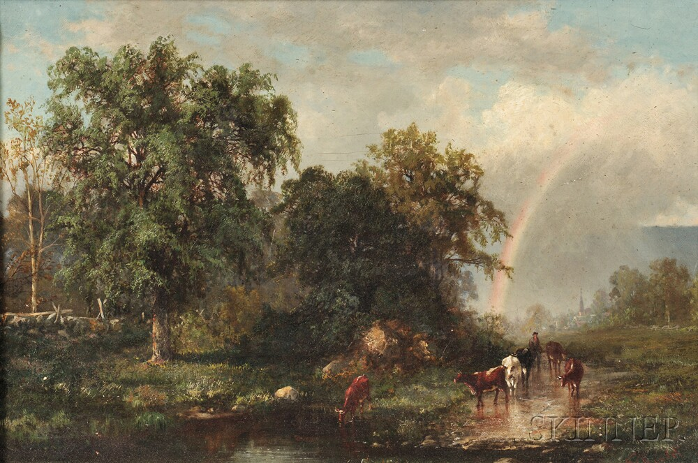 Frederic Rondel Sr. (American, 1826-1892)      Beyond the Rainbow/A Herder with Cattle