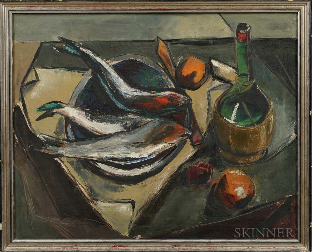 American School, 20th Century      Still Life with Wine Bottle and Fish