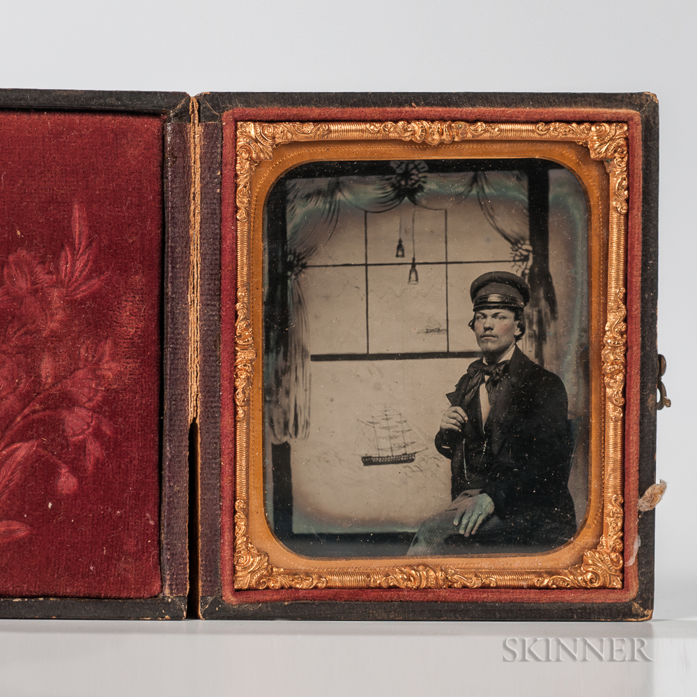 Sixth-plate Cased Ambrotype of a Man Against a Nautical Backdrop