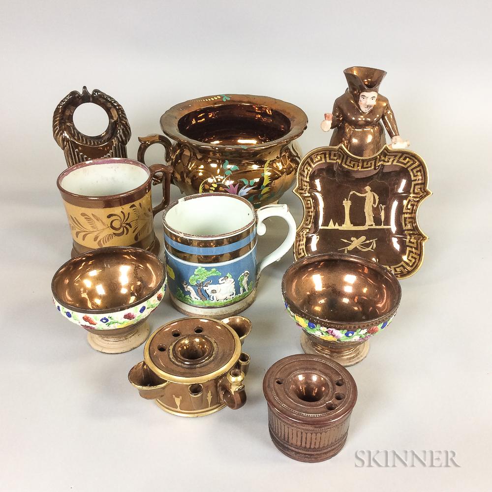 Ten Copper Lustre Ceramic Items