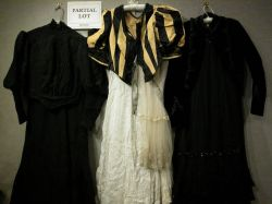 Group of Victorian Women's Dresses with Bodices and Later Accessories