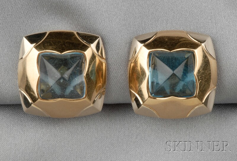 18kt Bicolor Gold and Blue Topaz Pyramid Earclips, Bulgari