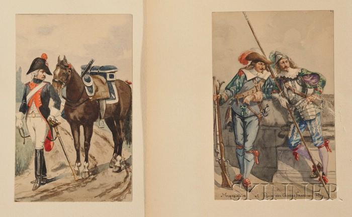 Continental School, 19th Century      Lot of Twelve Studies of Historical Military Uniforms