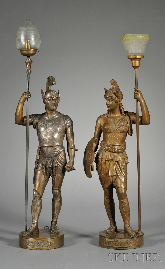 Near Pair of Patinated Metal Figural Hall Lamps