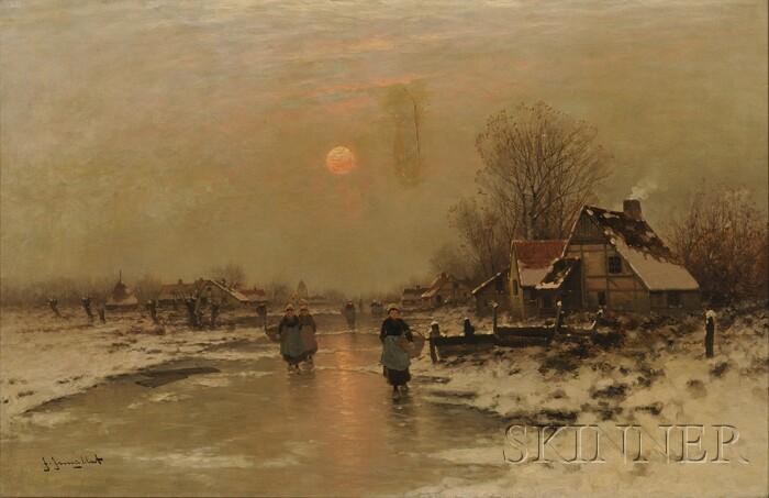 Johann Jungblut (German, 1860-1912)      Village Landscape in Winter