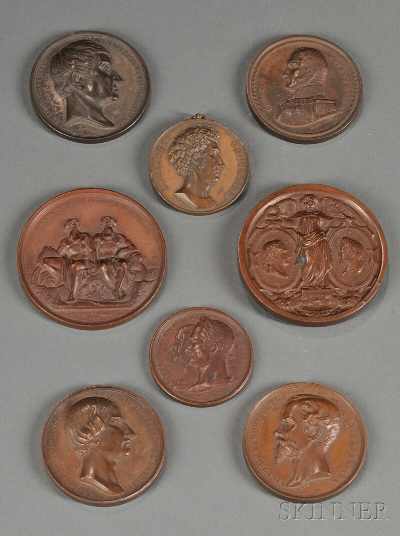 Collection of Eight French Bronze Commemorative Medallions
