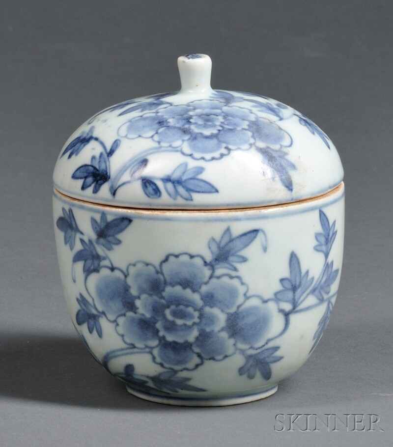 Blue and White Covered Bowl