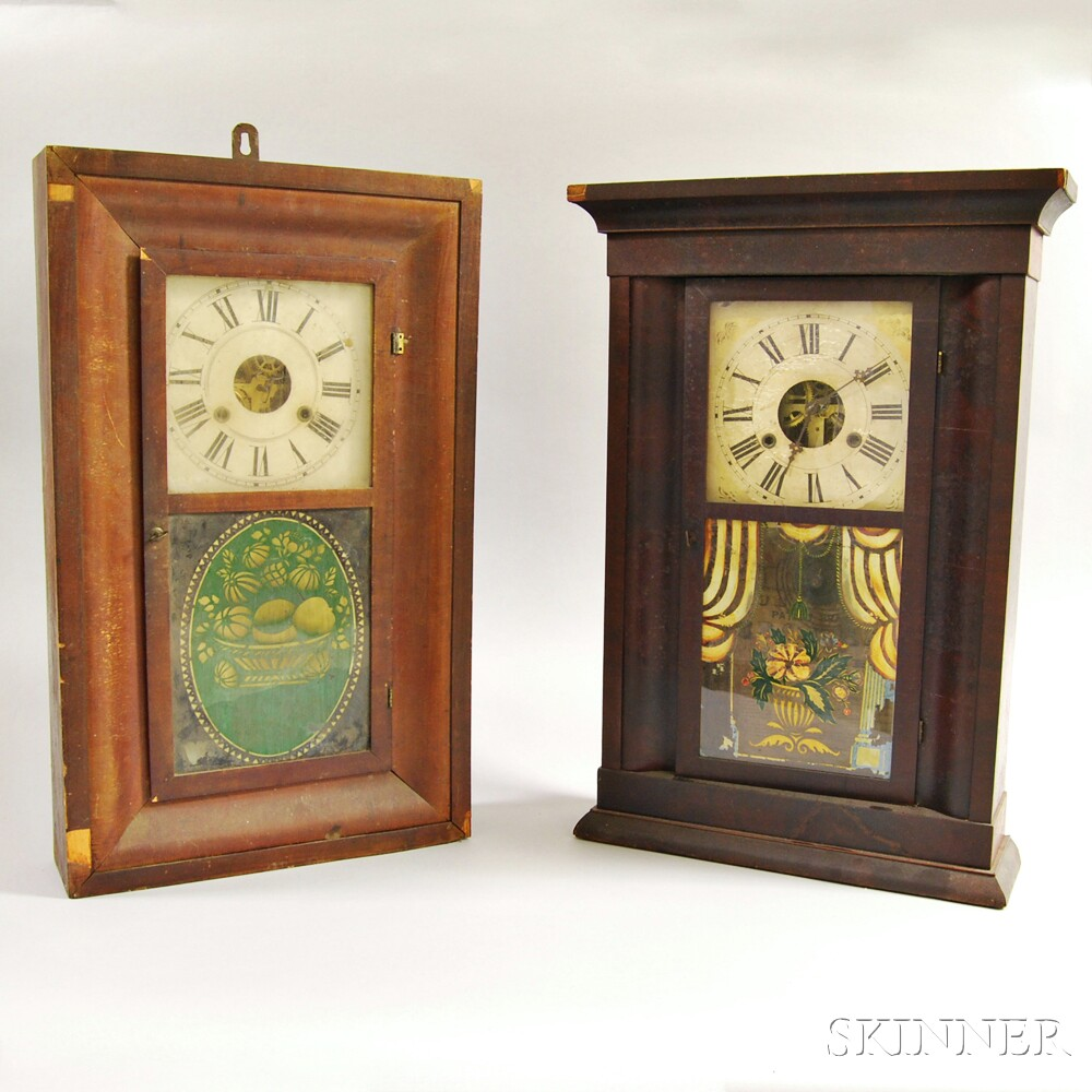 Two Mahogany Veneer Shelf Clocks