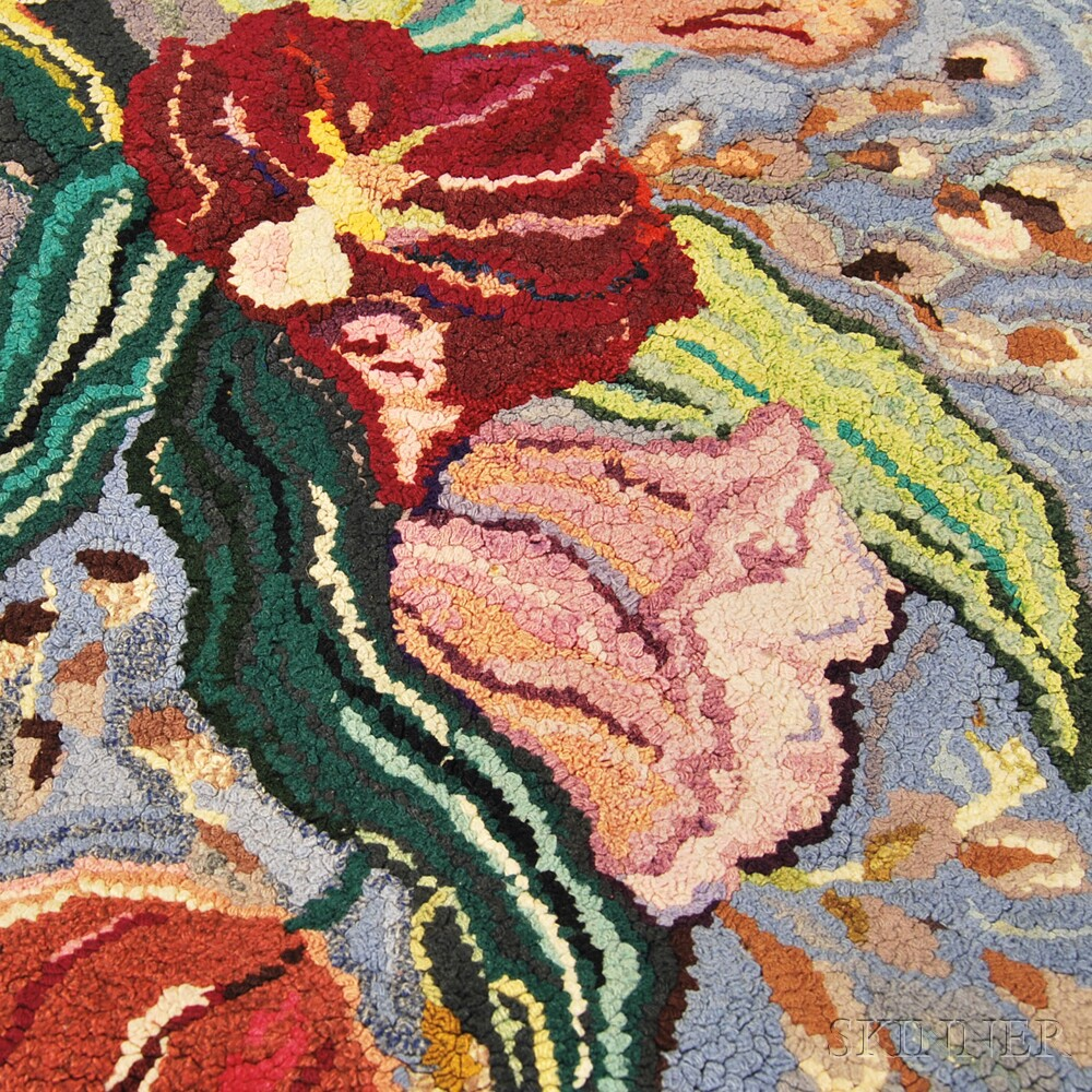 Three Floral-patterned Hooked Rugs