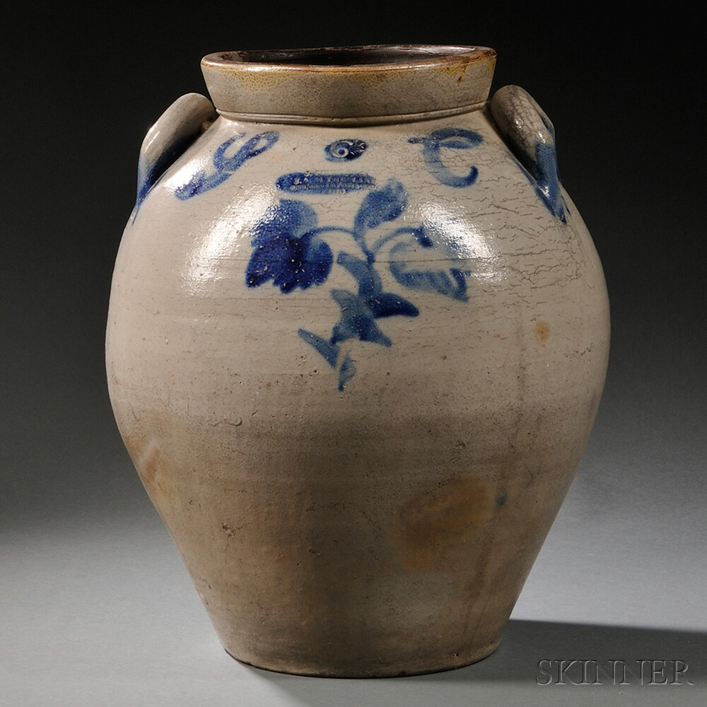 Salt-glazed and Cobalt-decorated Six-gallon Stoneware Storage Jar