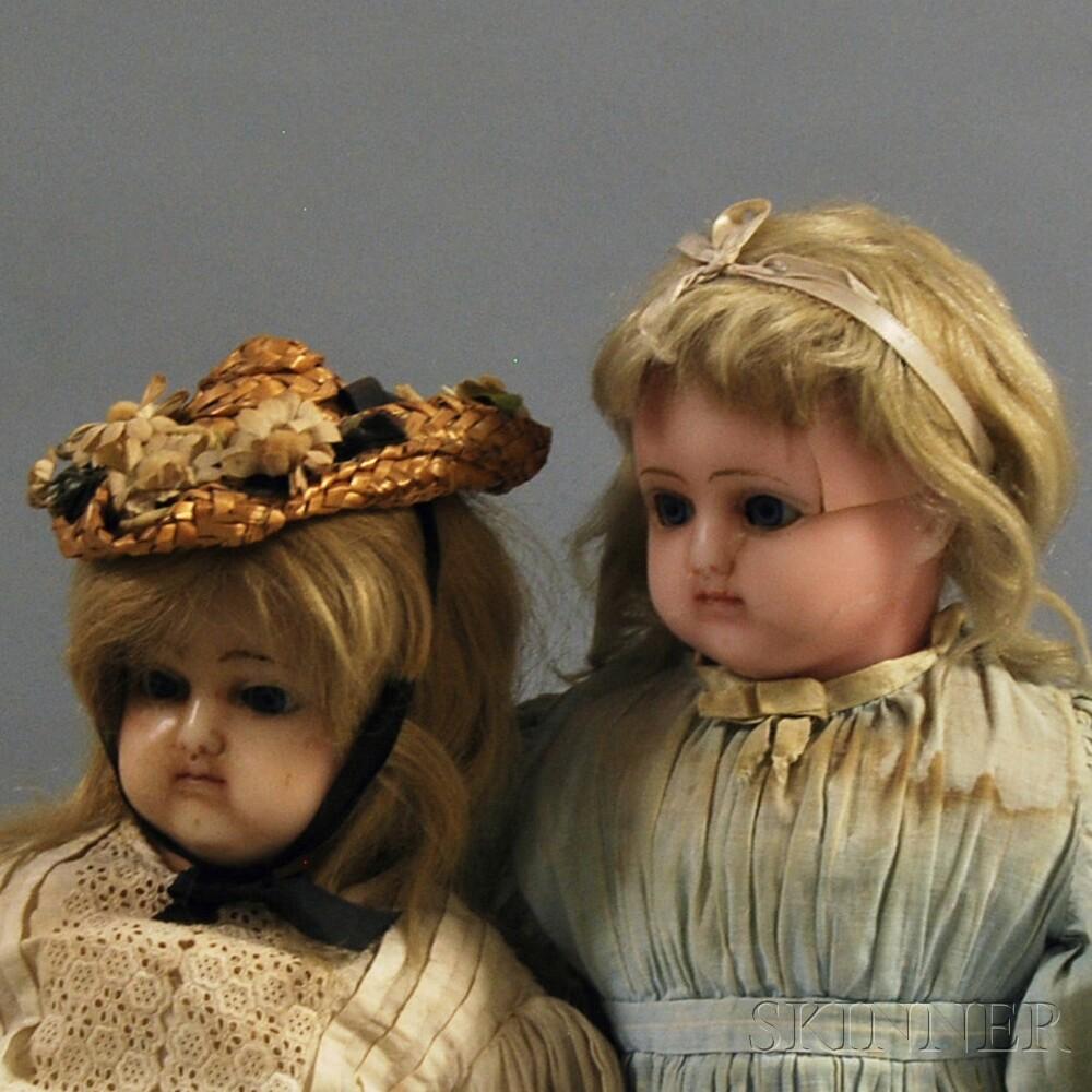 Two Wax Girl Dolls