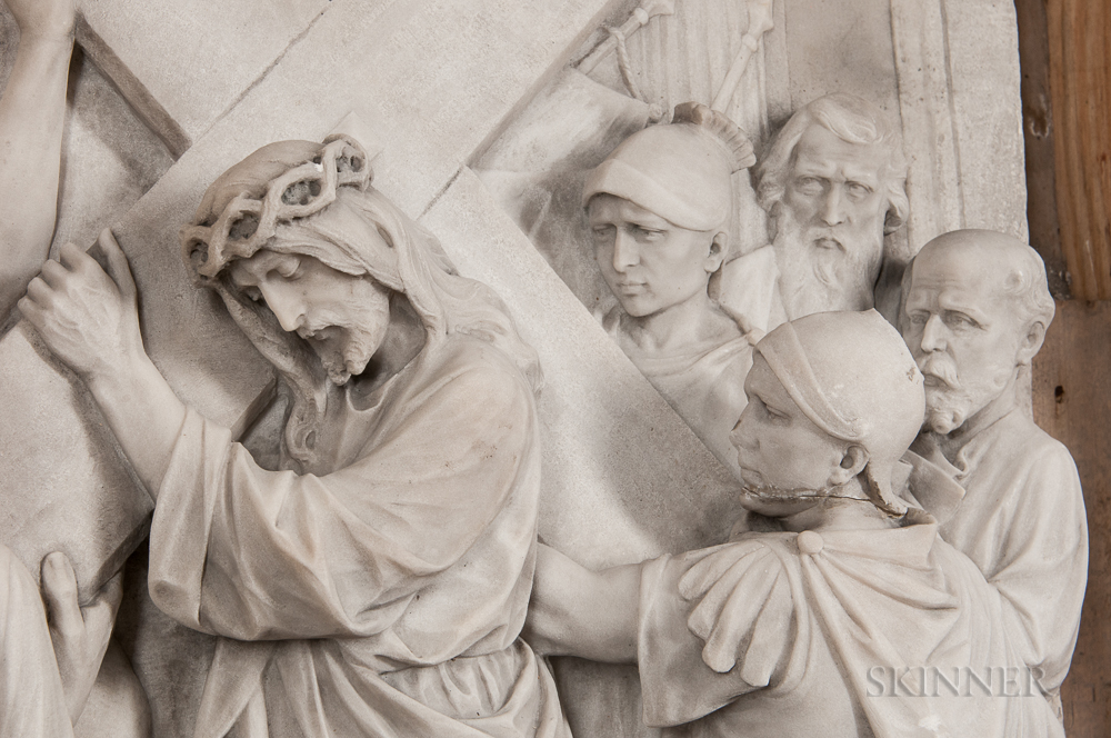 Set of Fourteen Carrara Marble Stations of the Cross Plaques