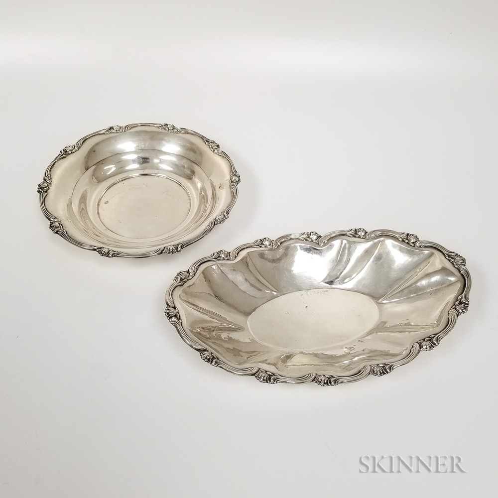 Sterling Silver Bread Tray and Bowl