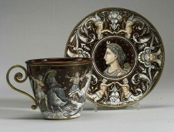 French Enamel Classical Revival Cup and Saucer