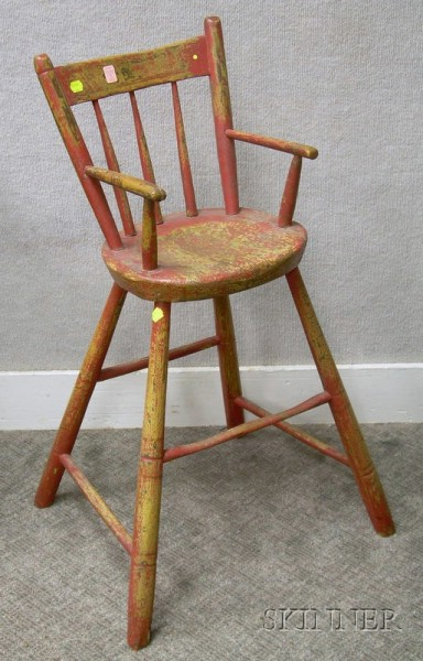 Childs Red-painted Windsor Rod-back High Chair.