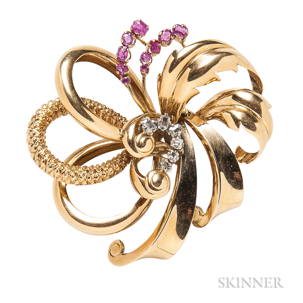 Retro 18kt Gold, Ruby, and Diamond Bow Brooch