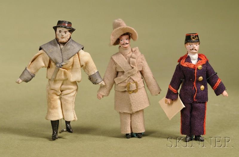 Three Small Papier-mache and Wood Gentlemen