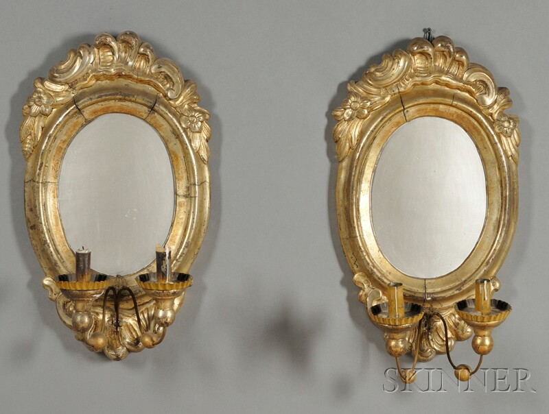 Pair of Russian Giltwood Two-light Wall Sconces