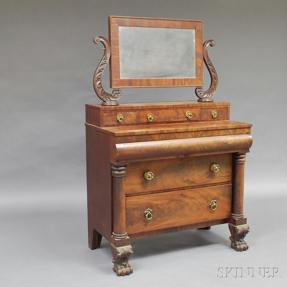Classical Mahogany Veneer Dressing Table with Mirror