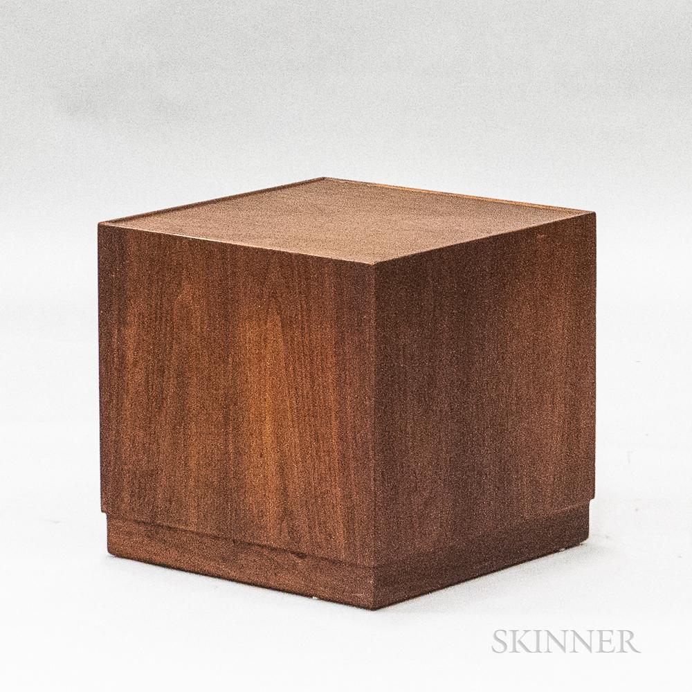 Modern Teak Veneer Cube Side Table
