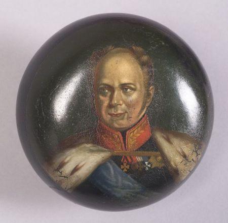 Russian Lacquer Portrait Tobacco Box