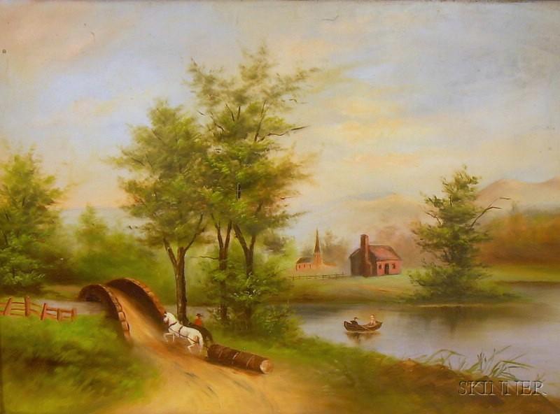 American School, 19th Century      Mountain River Scene with Horse-drawn Logging.