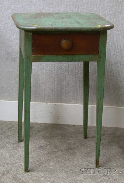 Green-painted Country Federal One-Drawer Stand.