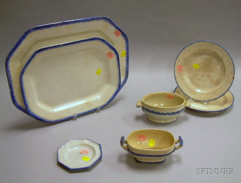 Seven Pieces of Leeds Feather-edge Tableware