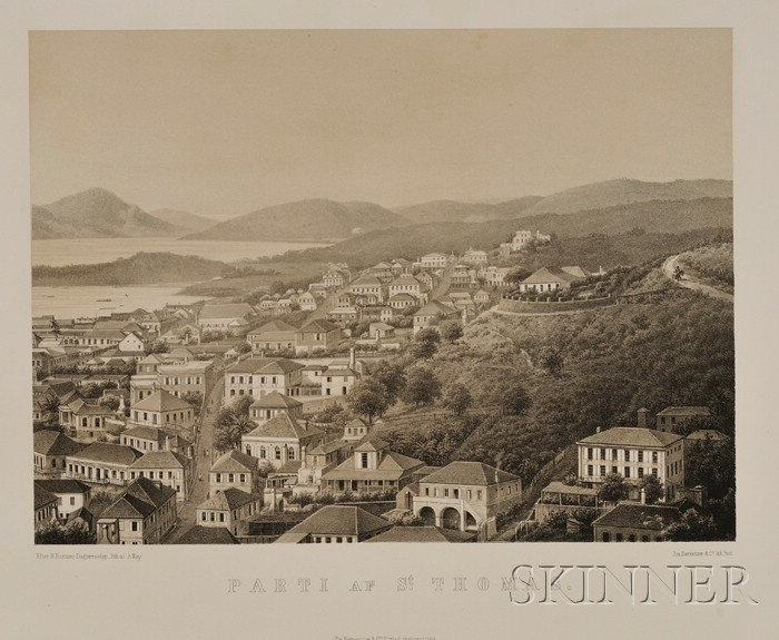 Two German Lithograph Views of St. Thomas, Virgin Islands
