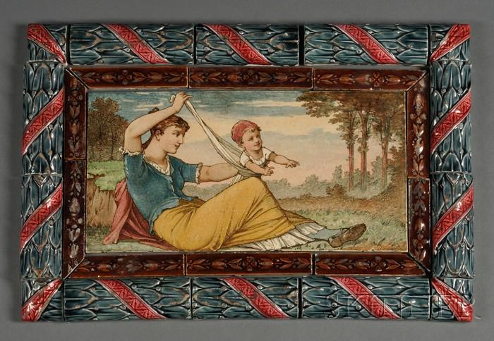 Wedgwood Majolica Framed Thomas Allen Earthenware Tile Picture