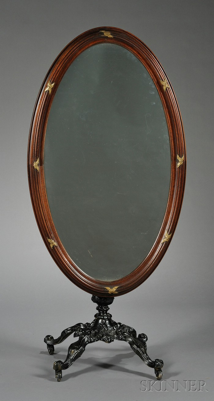 Victorian Walnut and Wrought-iron Cheval Glass