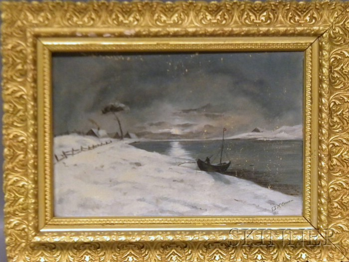 19th/20th Century American School Oil on Canvas Winter Night Scene