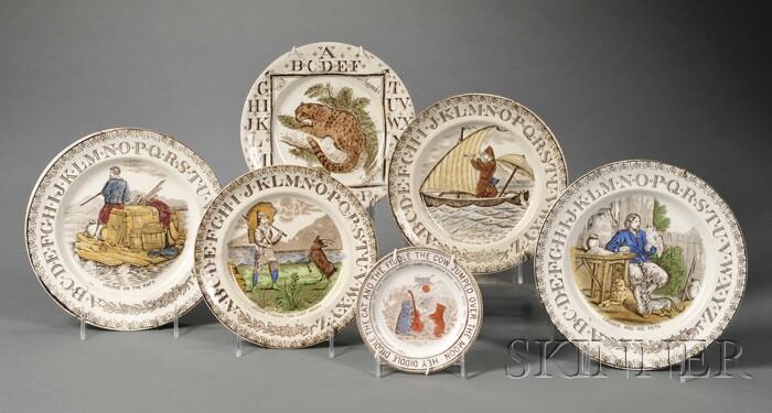 Six Staffordshire Transfer-printed Children's Alphabet Plates