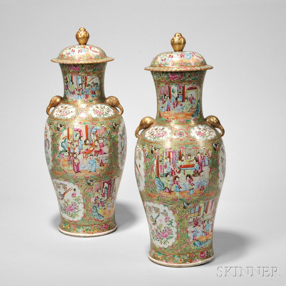 Pair of Rose Medallion Tall Covered Vases