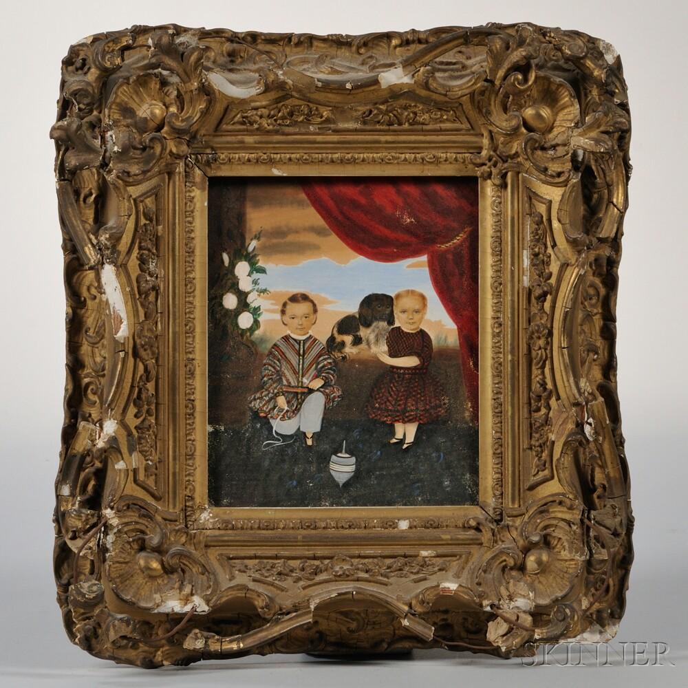 Clarissa Peters Russell (Massachusetts, 1809-1854)      Portrait of Two Children
