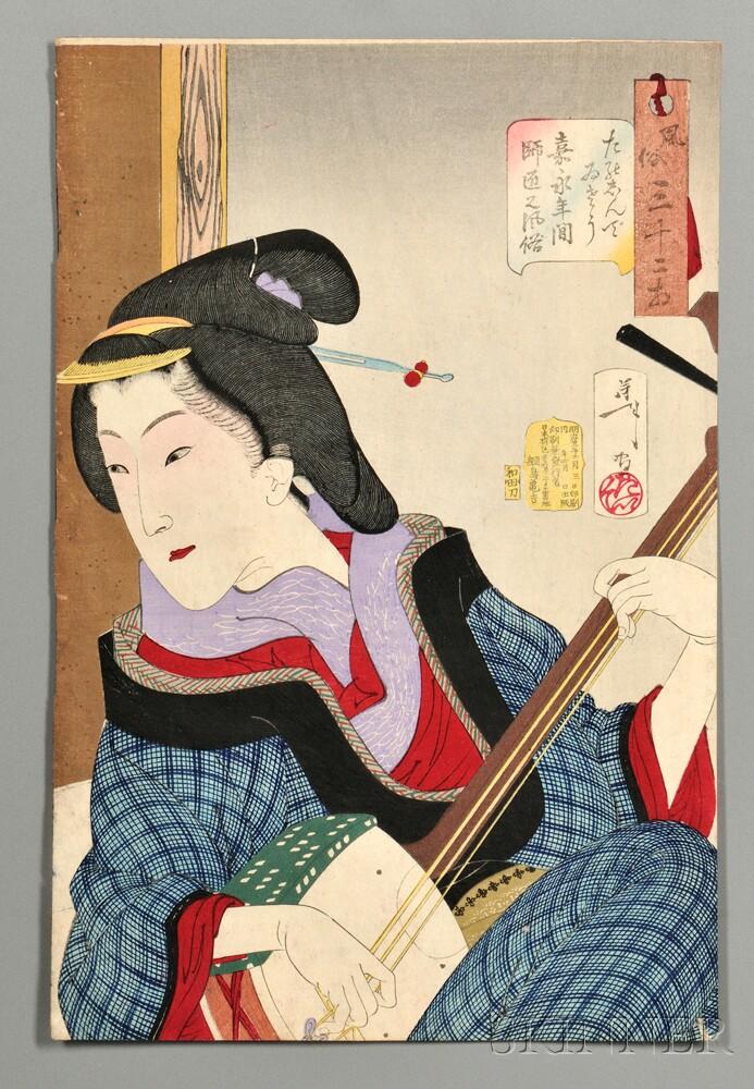 Tsukioka Yoshitoshi (1839-1892), Enjoying Herself: the Appearance of a Teacher of the Kaei Era