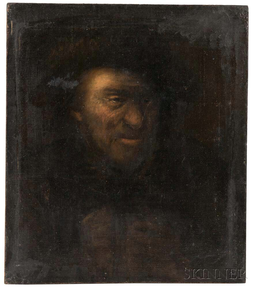 Dutch School, 17th Century Style      Bust of a Man in the Style of Rembrandt