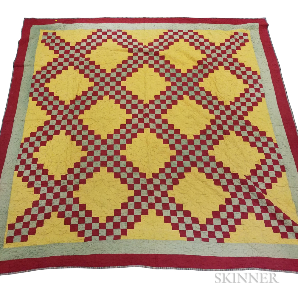 """Pieced Cotton """"Double Irish Chain"""" Quilt and an Overshot Coverlet"""