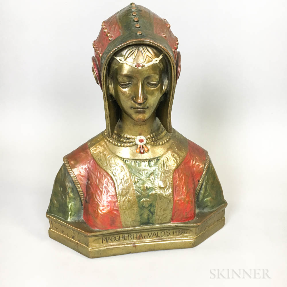 Polychrome Copper-clad Bust of Margherita di Valois